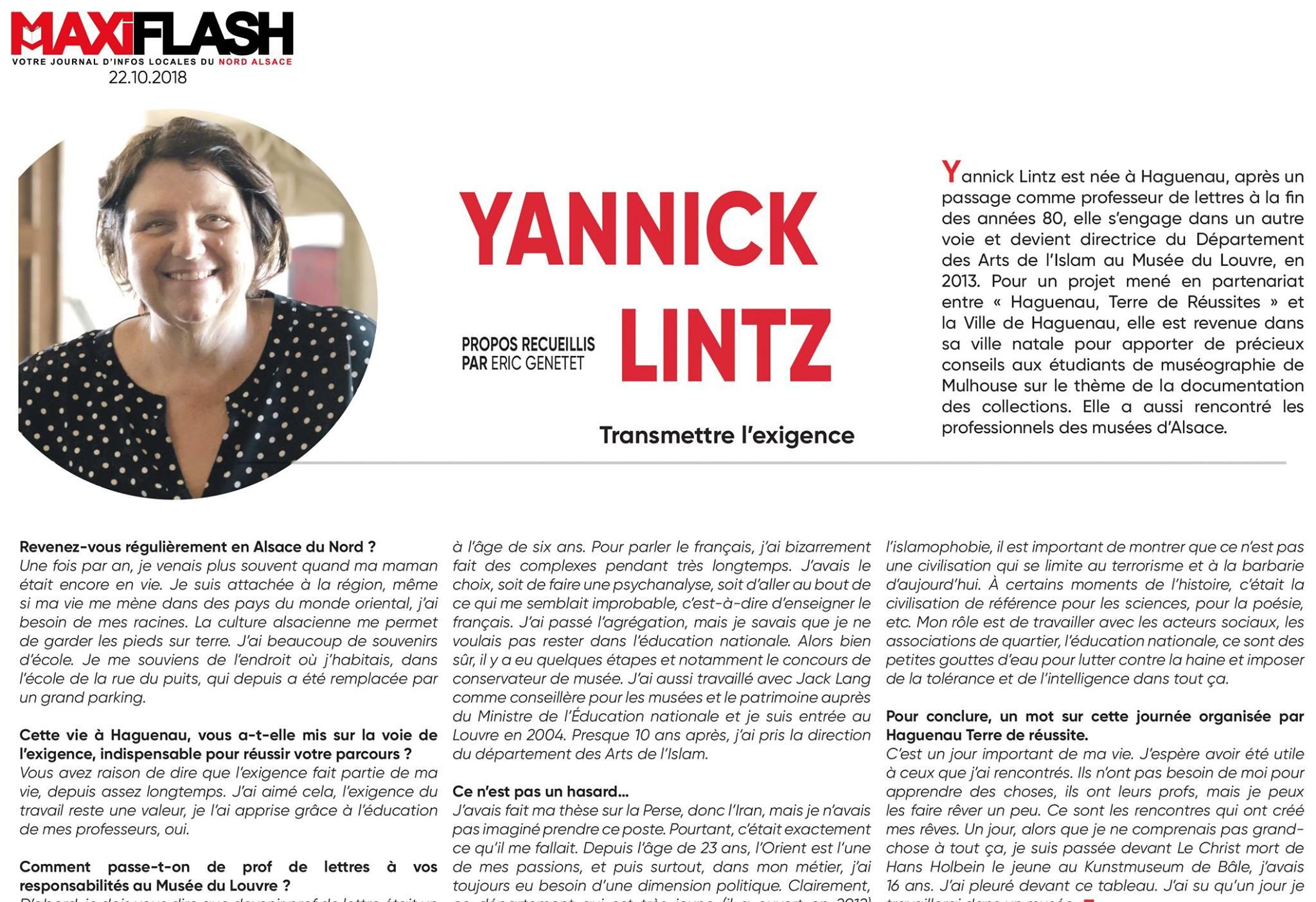 Yannick Lintz Transmettre l'exigence - Presse